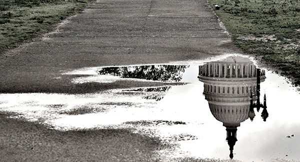 puddle with reflextion of the capital