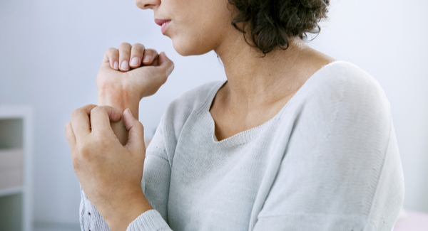 Woman with psoriatic arthritis