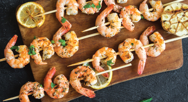 Shrimp Skewers With Garlic and Guindilla Pepper